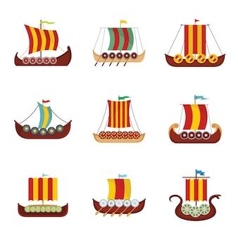Viking barco barco drakkar conjunto de iconos