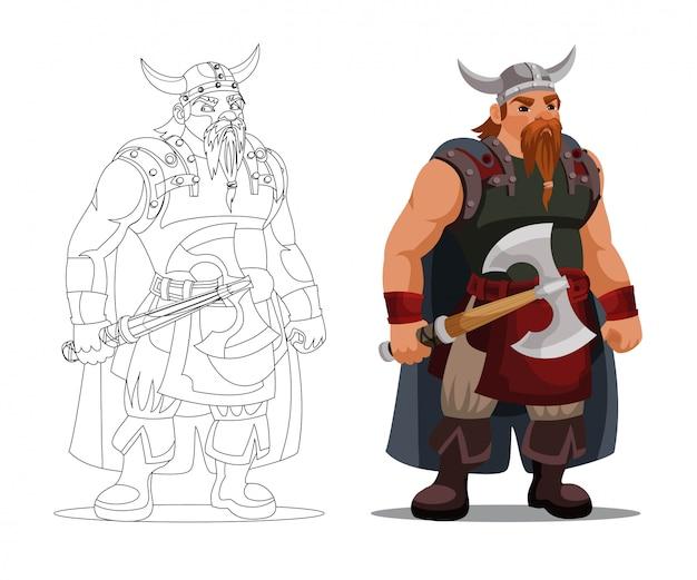 Vikingo en casco con cuernos sosteniendo un hacha, libro de colorear de silueta de contorno lineal