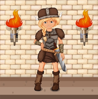 Vikingo femenino de pie en el piso del castillo