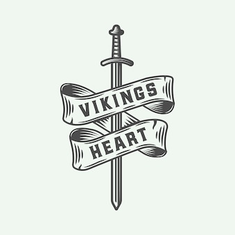 Vikingos emblema de corazón con espada