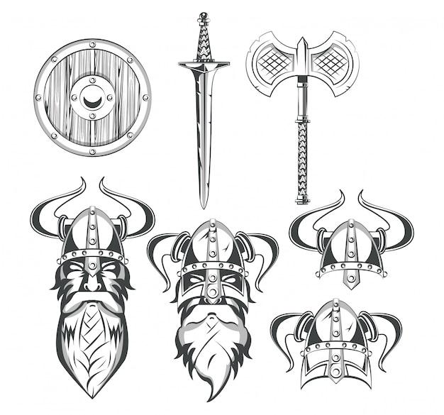Vikingos guerreros conjunto de dibujos.
