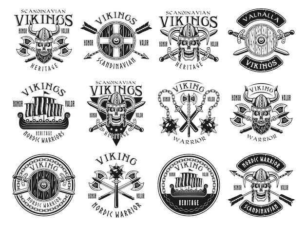 Vikingos y guerreros escandinavos conjunto de doce emblemas vintage monocromos vectoriales, etiquetas, insignias, logotipos o impresiones de diseño de camisetas aisladas sobre fondo blanco