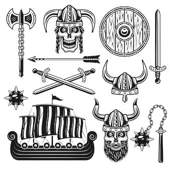 Vikingos y guerreros escandinavos conjunto de objetos vectoriales y elementos de diseño en estilo monocromo vintage aislado sobre fondo blanco.
