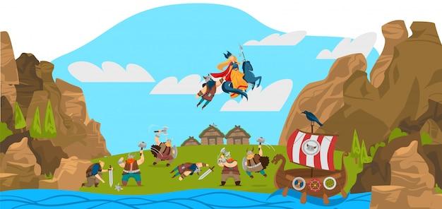 Vikingos y guerreros escandinavos, dioses, ilustración de dibujos animados divertidos del paisaje de la historia de escandinavia.