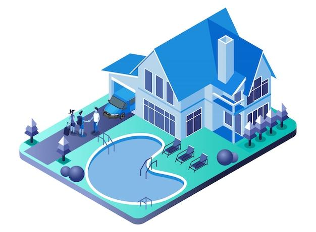 Villa, casa de familia y piscina con el anfitrión estrechándole la mano a los invitados - ilustración isométrica