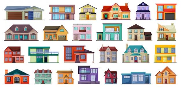 Villa de dibujos animados casa establece icono.