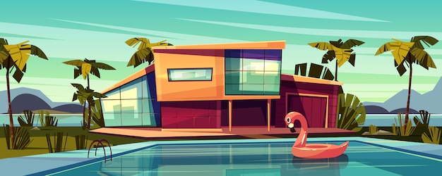 Villa de lujo en la costa, residencia extranjera en un país exótico, costosa mansión en el trópico de dibujos animados