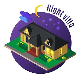 Villa residencial con ventanas luminosas y techo negro por la noche.