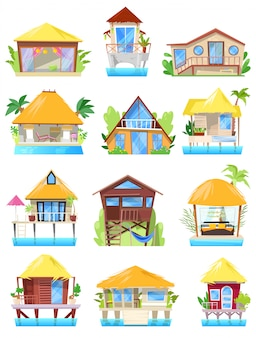 Villa tropical resort hotel en ocean beach o fachada de la construcción de viviendas en el paraíso ilustración conjunto de bungalow en la aldea aislada sobre fondo blanco