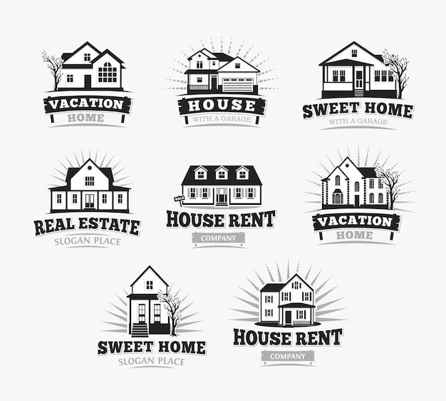 Villas, arquitectura clásica de casa de pueblo americano. plantilla de logotipo.