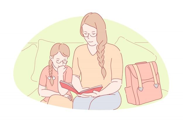 Vinculación familiar, educación en el hogar, concepto de maternidad feliz