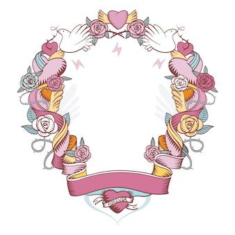 Viñeta rosa tejida con rosas y corazones.