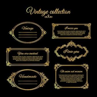 Viñetas caligráficas de oro