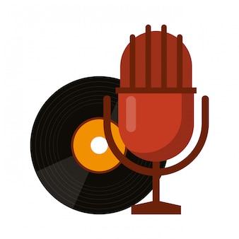 Vinilo musical y micrófono