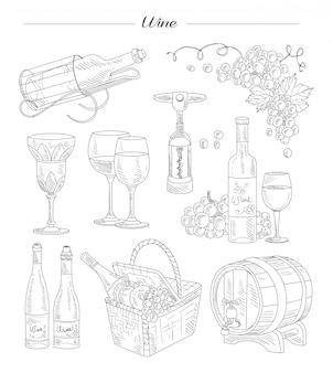 Vino y accesorios, conjunto dibujado a mano