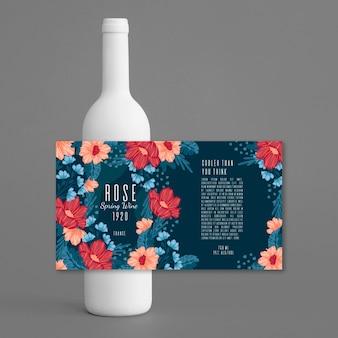Vino con anuncio de bebidas de diseño floral