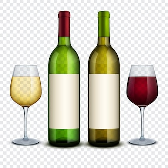 Vino blanco rojo y en botellas y copas vectoriales maqueta. botella de vino tinto y bebida alcohólica y copa de vino.