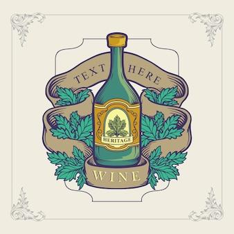 Vino bootle para diseño de ilustración de logotipo de patrimonio
