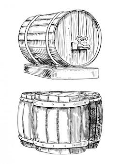 Vino o ron, cerveza barriles clásicos de madera para paisajes rurales con vista frontal y lateral de la villa.