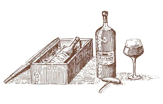 Vino en paquete, caja para regalo ilustración grabada dibujada a mano en estilo antiguo