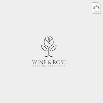 Vino y rosa logotipo plantilla vector aislado, elementos de icono