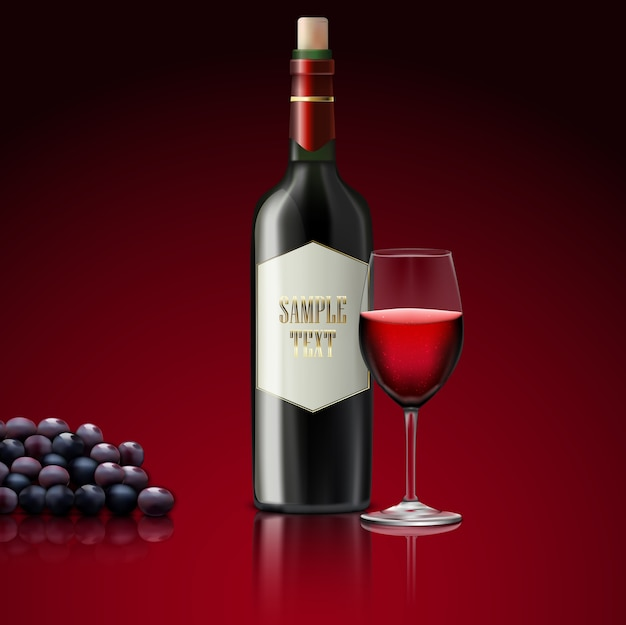 Vino tinto con botella de champagne y uvas