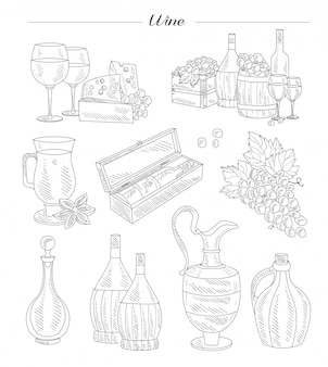 Vino y uvas, conjunto dibujado a mano