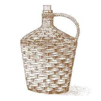Vino viejo botella trenzada tradicional dibujado a mano grabado antiguo aspecto vintage ilustración