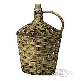 Vino viejo botella trenzada tradicional dibujado a mano grabado mirando ilustración vintage