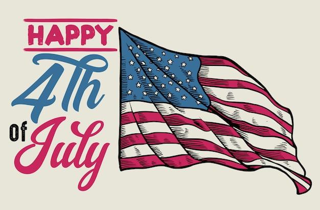 Vintage 4 de julio diseño con bandera handdrawn