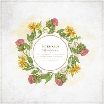 Vintage acuarela marco floral con la tipografía