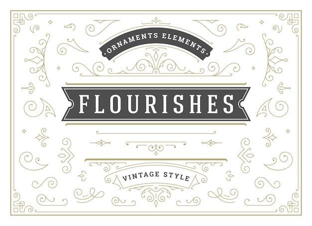 Vintage adornos remolinos y pergaminos elementos de diseño de decoraciones conjunto florece caligráfico