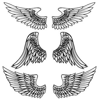 Vintage alas sobre fondo blanco. elementos para logotipo, etiqueta, emblema, signo, marca. ilustración.