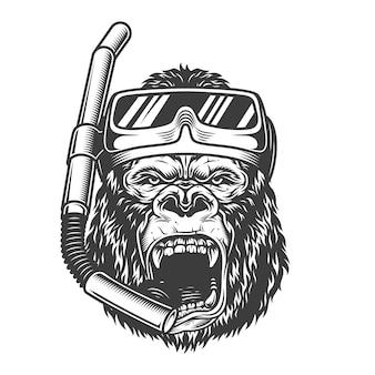 Vintage arrogante gorila diver con máscara de buceo y snorkel en ilustración de estilo monocromo