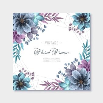 Vintage azul púrpura acuarela flores marco de fondo