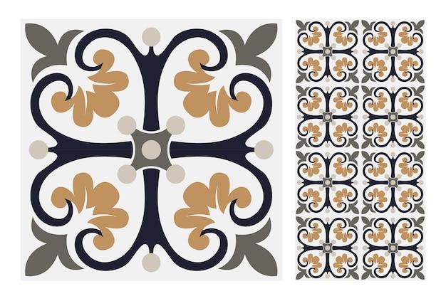 Vintage azulejos antiguos patrones sin fisuras