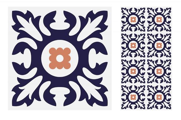 Vintage azulejos patrones antiguos diseño sin costuras en ilustración vectorial