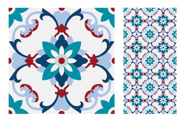 Vintage azulejos patrones antiguos diseño sin costuras