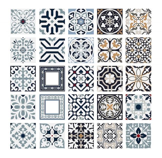 Vintage azulejos patrones portugueses antiguos diseño sin costuras en ilustración vectorial