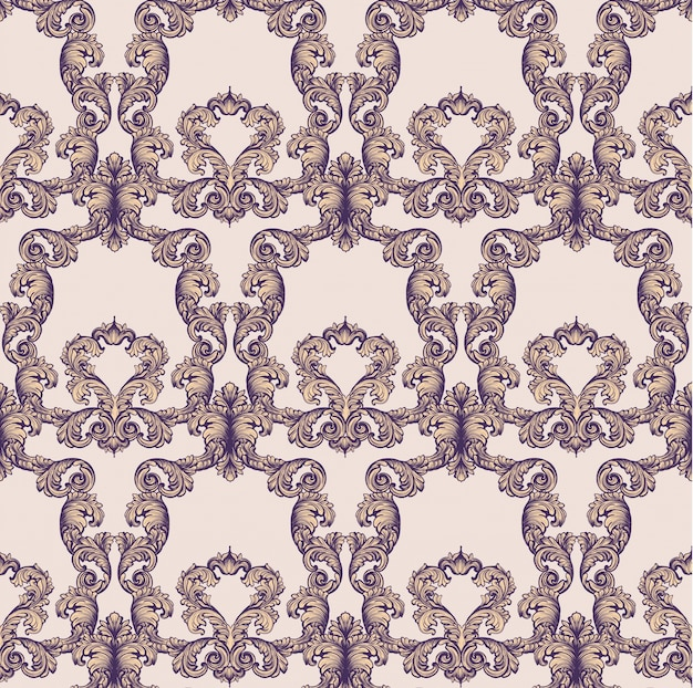 Vintage baroque rich pattern background ilustraciones de vectores