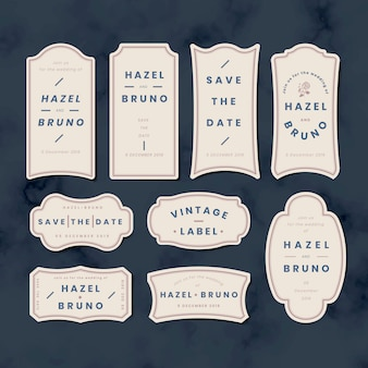 Vintage boda invitación etiqueta etiqueta conjunto de vectores