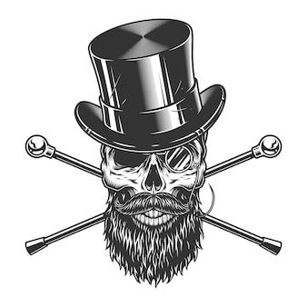 Vintage caballero cráneo en sombrero de cilindro