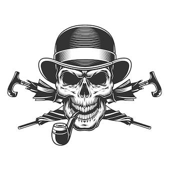 Vintage caballero cráneo en sombrero fedora