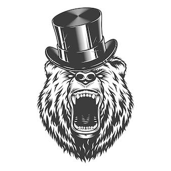 Vintage caballero enojado oso cabeza
