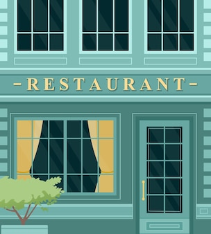 Vintage café restaurante fachada del edificio de la calle de la ciudad europea exterior del edificio, entrada frontal