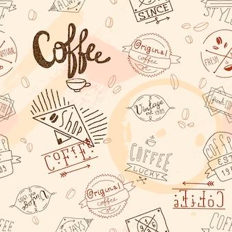 Vintage café retro de patrones sin fisuras
