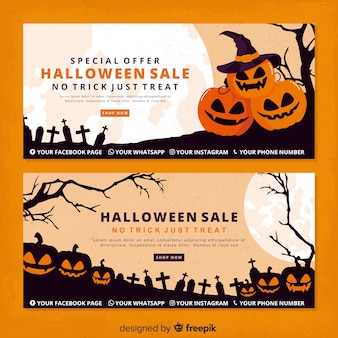 Vintage calabazas de halloween pancartas de halloween