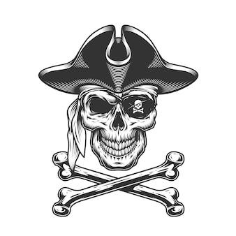 Vintage calavera con sombrero de pirata