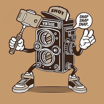 Vintage camera selfie character