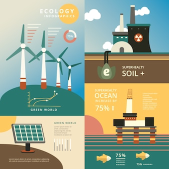 Vintage color ecología plana infografía